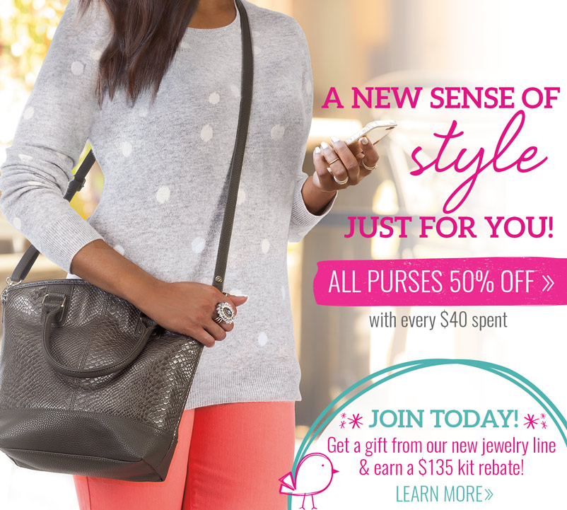 A new sense of style - just for you! All purses 50% off with every $40 spent