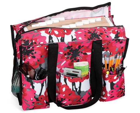 Zip-Top Organizing Utility Tote in Bold Bloom