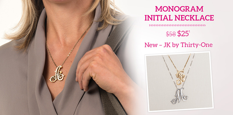 Monogram Initial Necklace $25 New - JK by Thirty-One